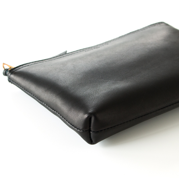GLOVE LEATHER ZIP-TOP POUCH(BLACK)