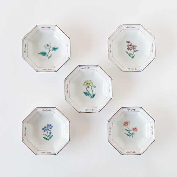 Octagonal flower design small plates Set of 5