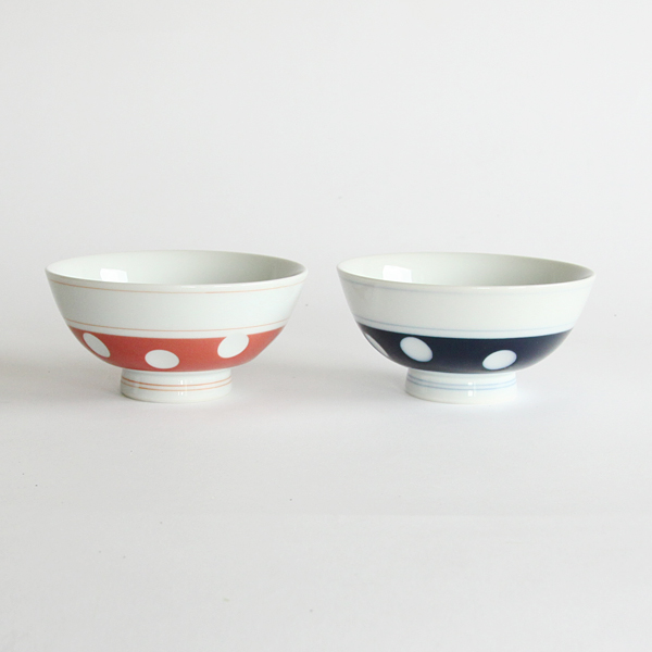 Hizen Yoshida polka dot rice bowl set of 2