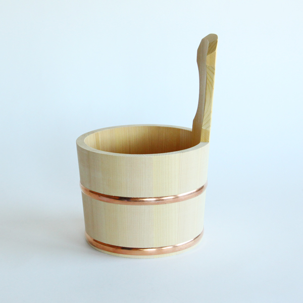 Sawara cypress one-handle bucket