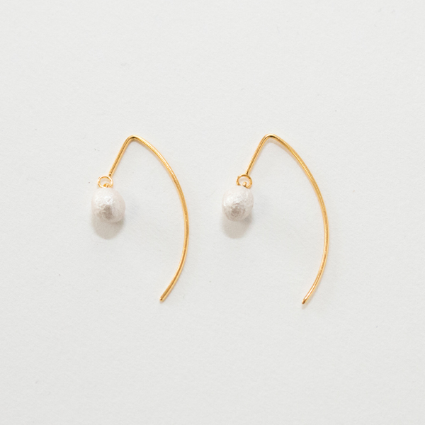 BESKOPE BABY PAPER PEARL HOOK EARRINGS