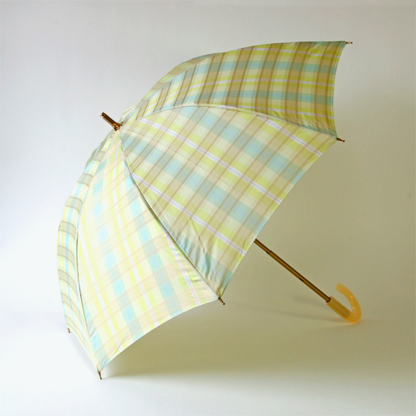 Check jacquard rain or shine combined parasol Green