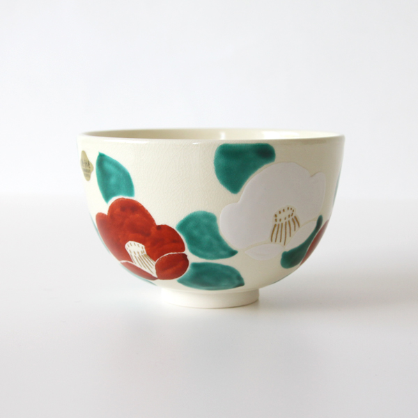 Green tea bowl Flower Tsubaki