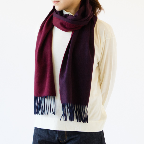 マフラー Arran Semi Reversible Navy Wine