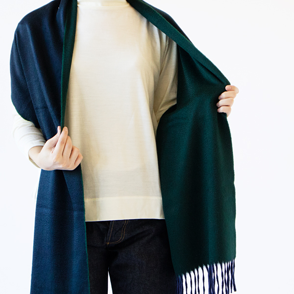 マフラー Arran Semi Reversible Navy Tartan Green