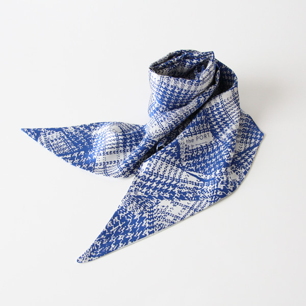 スカーフ FUR/HOUNDSTOOTH CHECK BLUE
