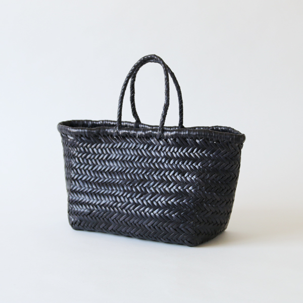 Leather mesh basket Small Black