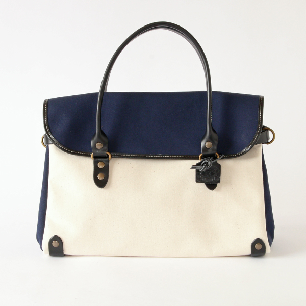BAG MANHATTAN S ARC-COTTON WHITE×NAVY