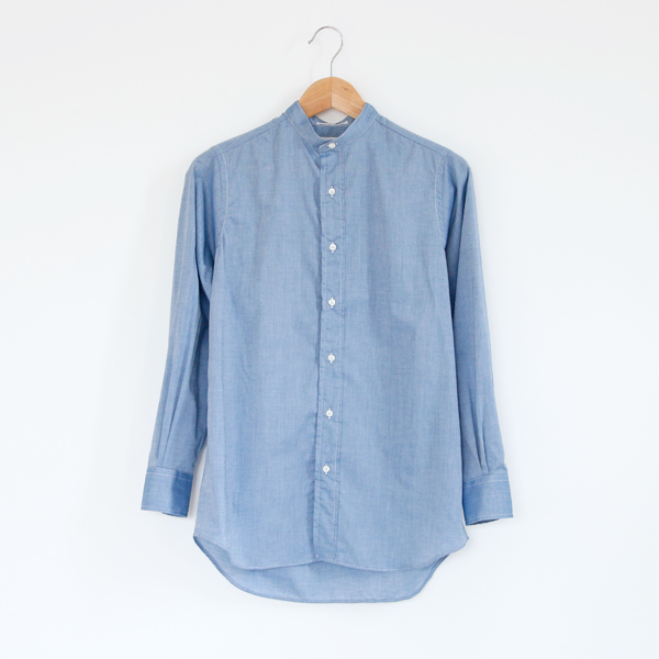 LADIES BAND COLLAR SHIRTS(Chambray/Blue)