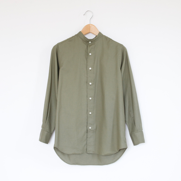 LADIES BAND COLLAR SHIRTS(Herringbone/Olive)
