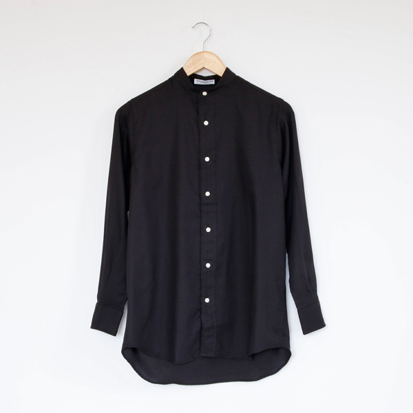 LADIES BAND COLLAR SHIRTS(Herringbone/Black)