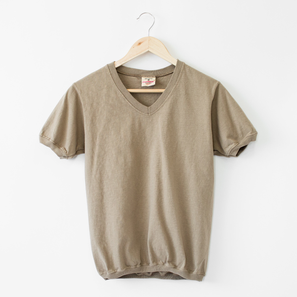 V NECK SHORT SLEEVED TOP  ASH BEIGE