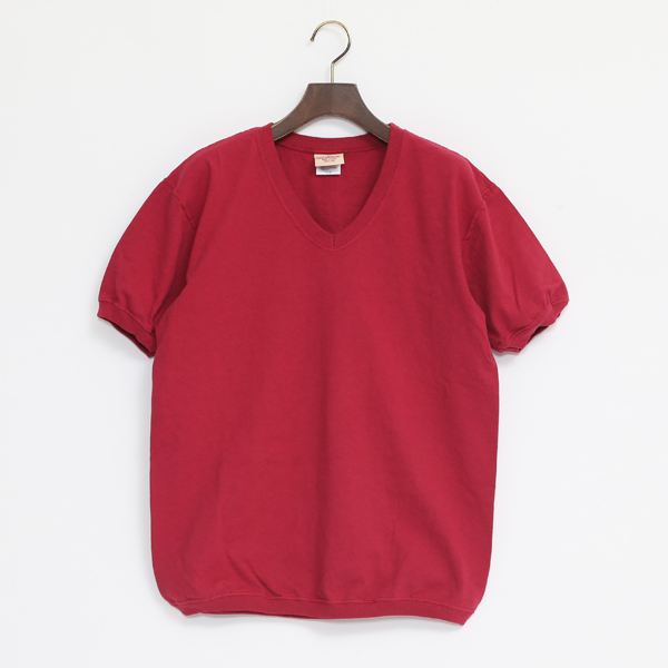 V NECK SHORT SLEEVED TOP DK RED