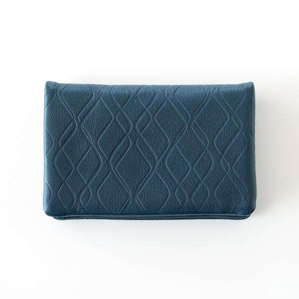 レザーカードケース quilting pattern emboss(NAVY)