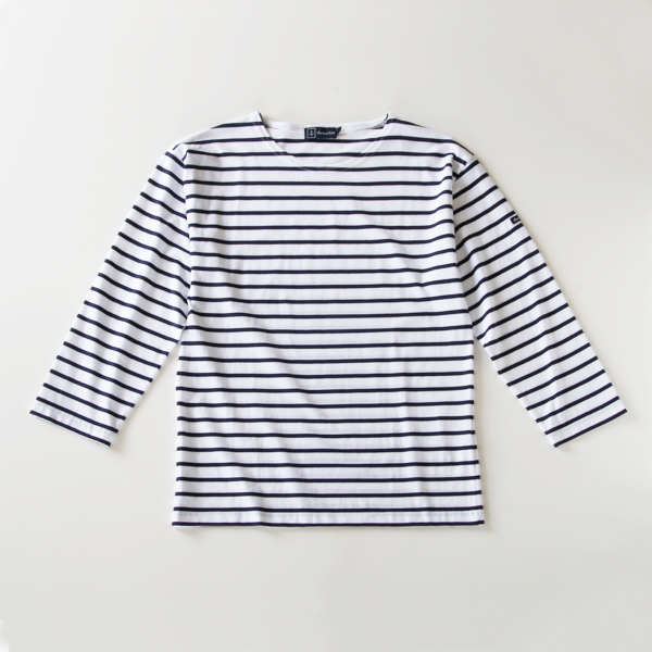 STRIPE LONG SLEEVE T-SHIRT BEG MIEL white-navy