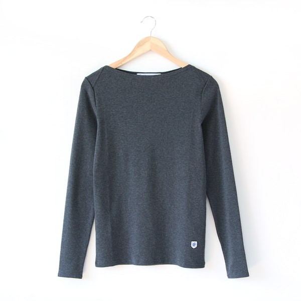 無地ボートネックL/S LADIES(ANTHRACITE CHINE)