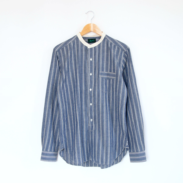 Men Band collar shirt Saloon Light Indigo Stripe