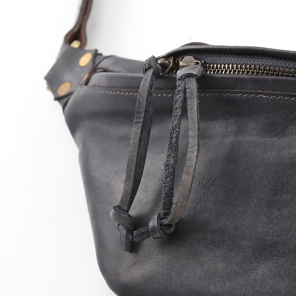LEATHER ウエストバッグ SMALL GRAY