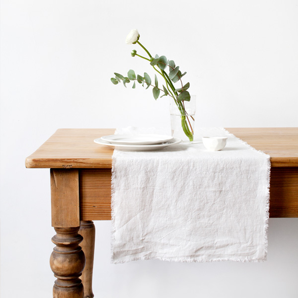 Linen table runner Vintage collection with fringe