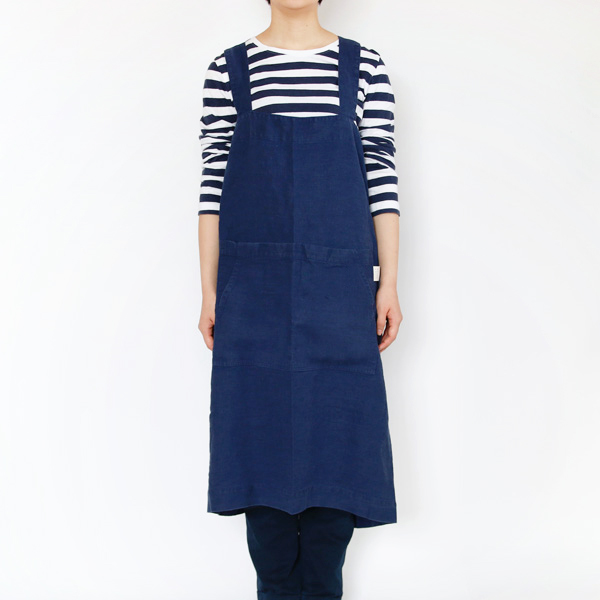 リネンエプロン Pinafore apron Colors(Navy)