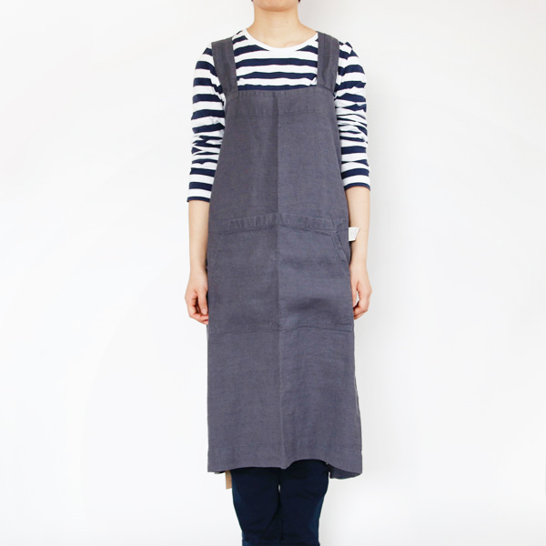 リネンエプロン Pinafore apron Colors(Dark Gray)