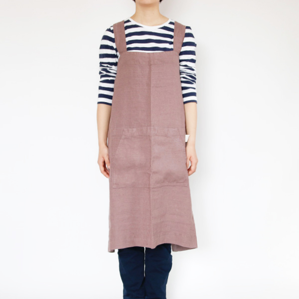 リネンエプロン Pinafore apron Colors(Ashes of Roses)