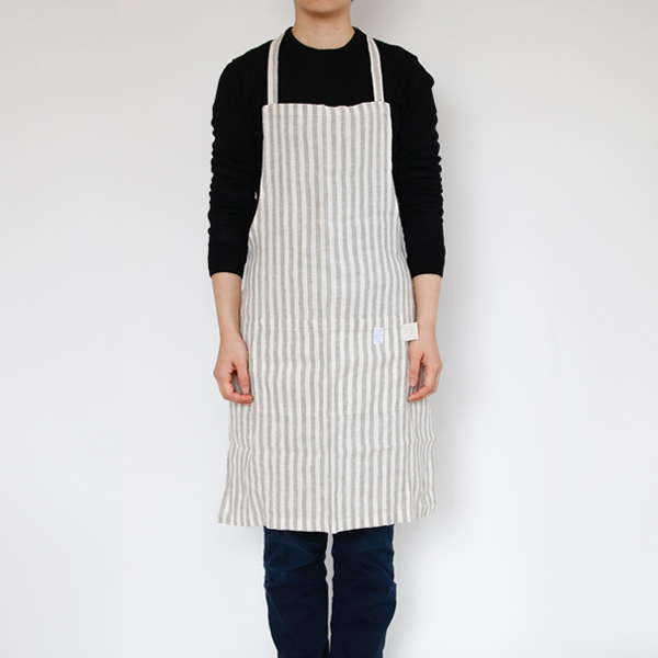 リネンエプロン Regular apron Stripe(Natural White Stripe)