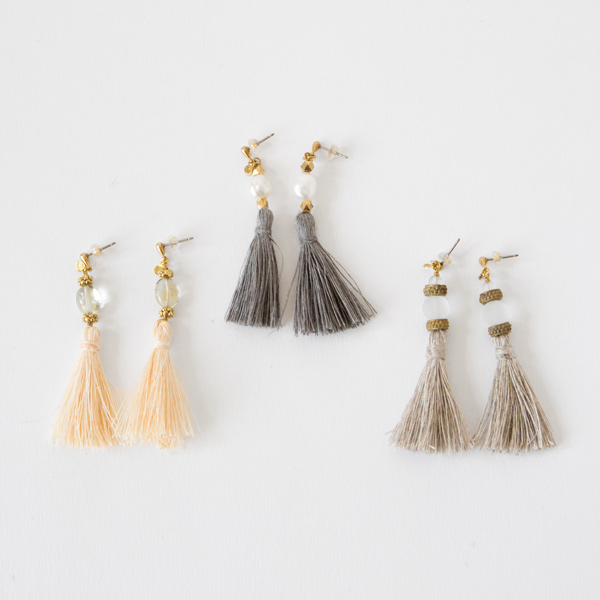TASSEL PEARL AND QUARTS EARRINGS