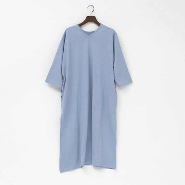 LINEN COTTON HIGH SLIT DRESS