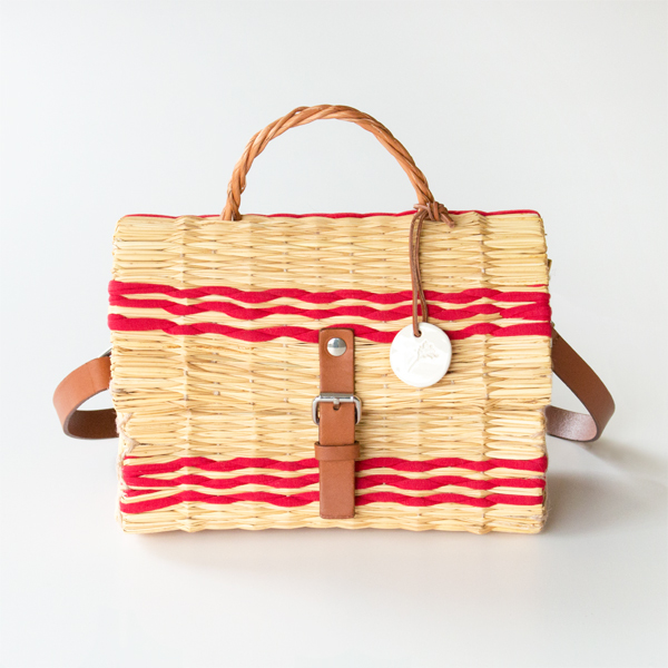 REED BASKET BAG S RED