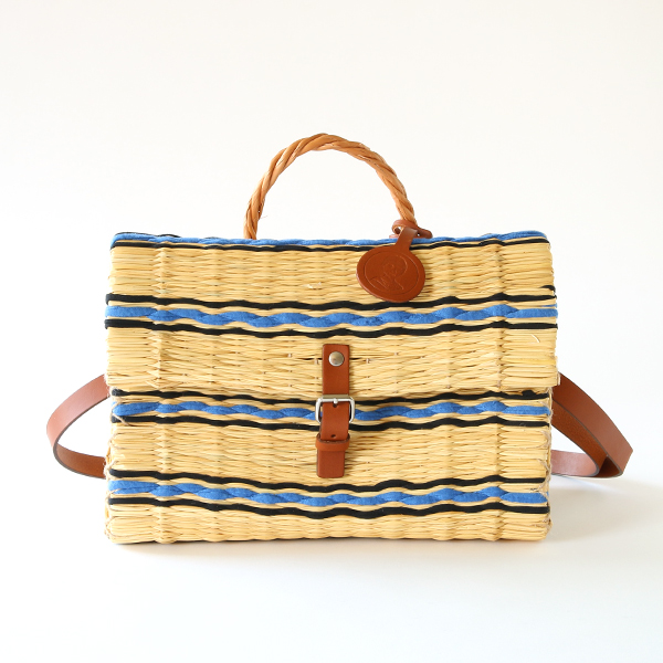 REED BASKET BAG M BLUE
