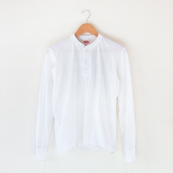 Henley Neck L-S Tee White