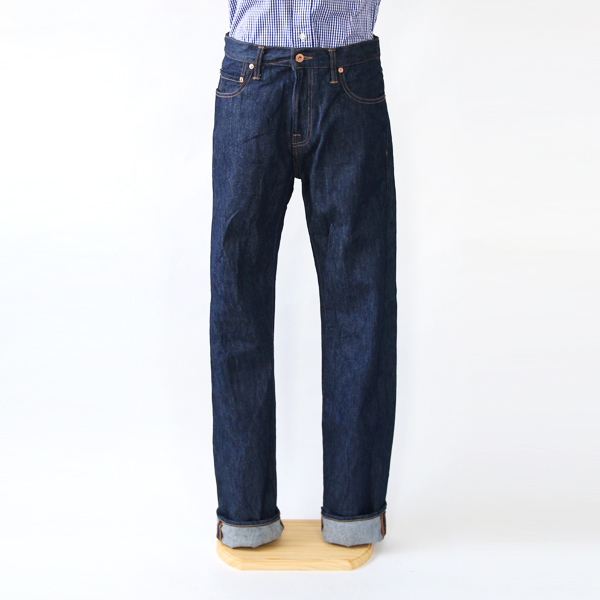 MEN 14OZ STRAIGHT LEG ONE WASH DENIM PANTS