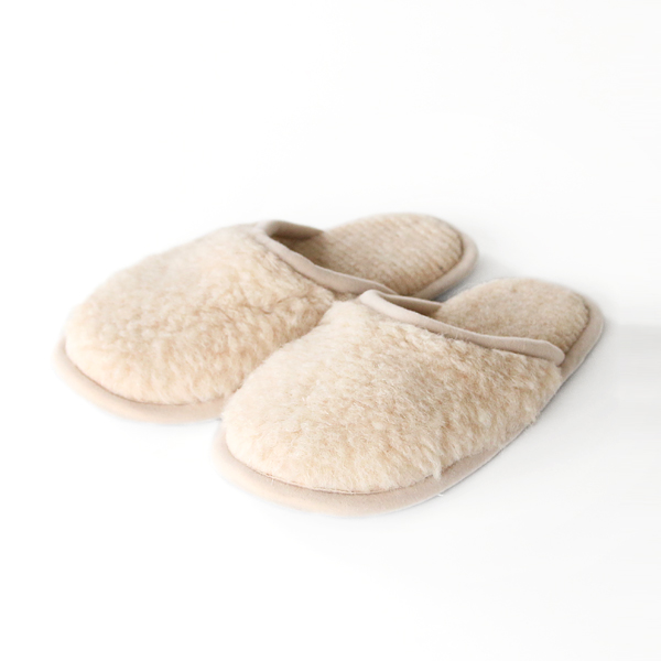 MERINO WOOL SLIPPERS BEIGE