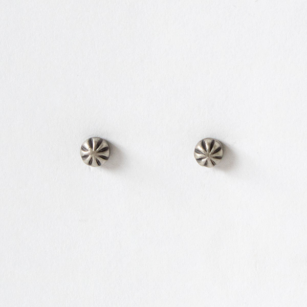 STUDEBAKERS CARVED STUD EARRINGS WORK PATINA