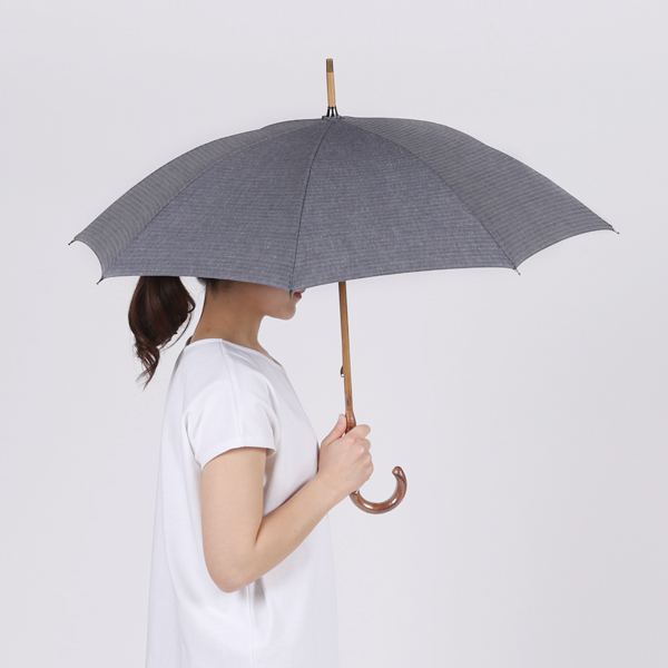 レディース晴雨兼用長傘 綿麻ヘリンボーン(BEIGE)