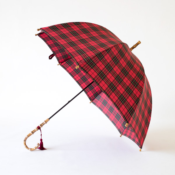 LADIES LONG UMBRELLA CHECK RED