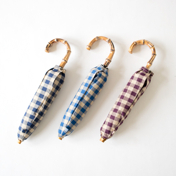 LADIES ALL-WEATHER FOLDING UMBRELLA GINGHAM CHECK