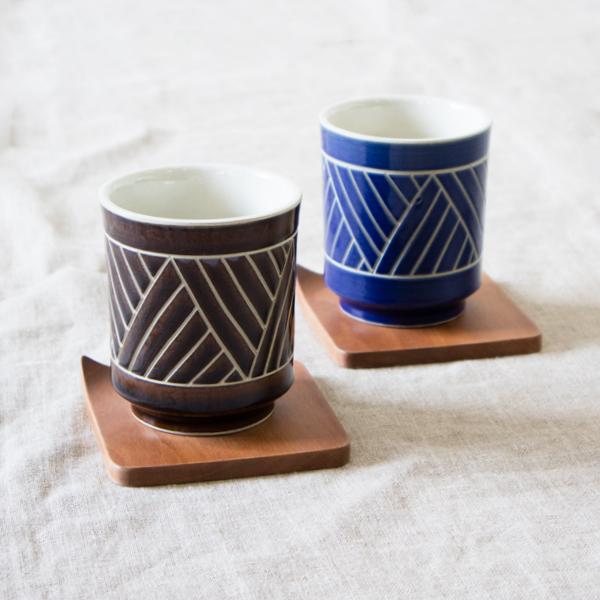 湯呑セット バサナイ(BLUE&BROWN)
