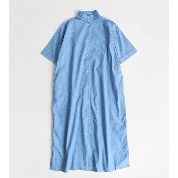 STAND COLLAR CHAMBRAY DRESS