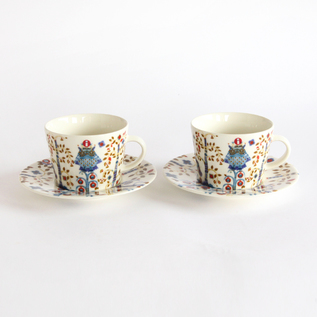 Taika coffee cup and saucer pair set white