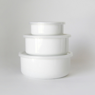 Porcelain Enamel Container White Series Round