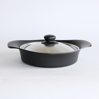 Iron pan shallow stainless steel with lid