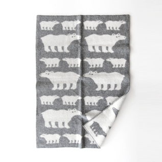 Half Blanket white bear gray