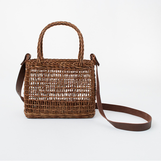 BESPOKE AKEBIA BASKET BAG WITH A LEATHER STRAP