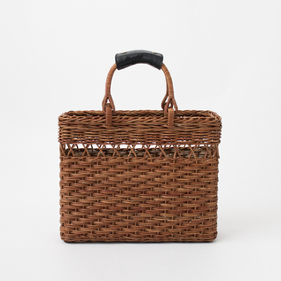 BESPOKE AKEBIA BASKET BAG LACE PATTERN WITH LEATHER HANDLES