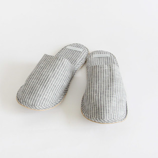 Linen slippers Grey White Stripes