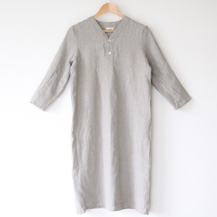 BESPOKE SPICA LINEN NIGHT SHIRT HALF