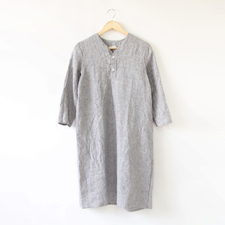 BESPOKE SPICA LINEN NIGHT SHIRT HALF GREY WHITE STRIPE
