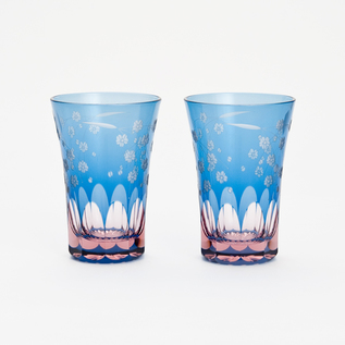 Glass Edo Kiriko cherry pattern Tenkai tumbler